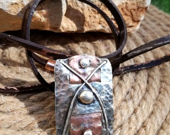 Silver Necklace, Copper Pendant, Men Necklace, Rustic Pendant, Raw Jewelry, Hammered Copper, Mixed Metal Necklace, Men Rectangle Pendant