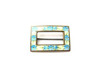 Vintage Art Nouveau Dainty Blue & Yellow Enamel Forget Me Not Flower Rectangular Shaped Gold or Brass Tone Metal Sash Brooch / Sash Pin