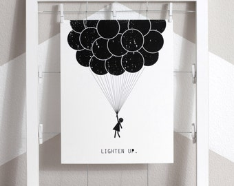 balloons art print, balloon girl art, giant balloons, balloons art, lighten up, eco friendly print, love balloons, black and white balloons