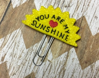 You Are My Sunshine Planner Clip, Bookmark, Page Clip, Paper Clip, Planner Accessories