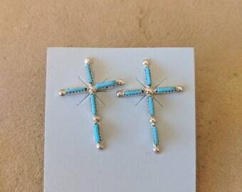 Zuni Needlepoint Turquoise Cross Earrings in Sterling Silver
