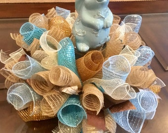 Ready To Ship Deco Mesh Easter Centerpiece , Blue Easter Bunny Centerpiece , Easter Candle Ring