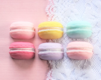 6 Pcs Assorted Pop Out French Macaron Cookie Cabochons - 24x11mm