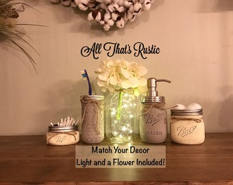 Rustic Mason Jar Bathroom Set, Mason Jar with Lights, Fairylights, Lighted Mason Jars, Mason Jar Bathroom Set, Painted Mason Jars, Rustic
