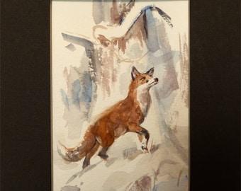 Red Fox in Winter Original Miniature Watercolor Sporting Art Painting