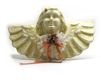 Vintage Christmas Angel White and Gold Painted Paper Maché Angel Christmas Decoration