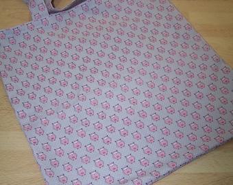 "Pretty cotton bag (tote bag) printed ""owls"""