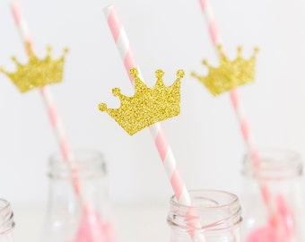 10 Pink and gold crown straws. Party decorations. First birthday party. Birthday girl.
