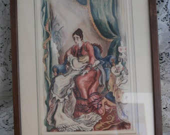 Wall Hanging- Antique - Framed Dramatic Scene ~Antique matted Wall Hanging