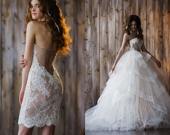 Wedding dress transformer for princess, removable fluffy tulle skirt, short lace wedding dress, strapless, embroidery pearls / Charlotte