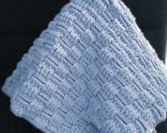 RTS Baby Boy Crocheted Baby Blanket Soft Blue Suede Cozy