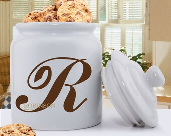 Monogrammed Family Initial Ceramic Cookie Jar - Personalized Ceramic Cookie Jar - Cookie Jar - Kitchen Decor - Mom Gifts - GC1419