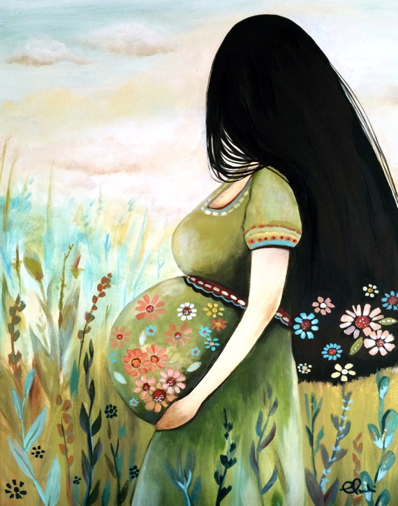 Pregnant woman art print  13 x 17 inches