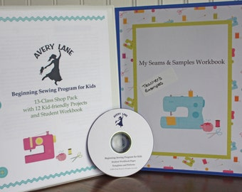 Beginning Sewing Program for Kids Curriculum Learn to Sew Student Workbook with 13 class plans and 12 projects Teacher Supply Pack