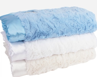 Luxe Bella Baby Blankets with Satin Trim - Blue