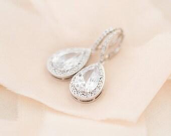 Bridal Earrings, Crystal Earrings, Large Teardrop Earrings, Statement Wedding Earrings
