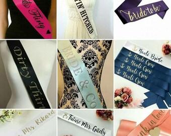 Bridal Sash, Custom Wedding Sash, Custom Bridal Sash, Custom Sash, Birthday Sash, Bridal Gift, Bride Gift, Bridal Party, Sashes