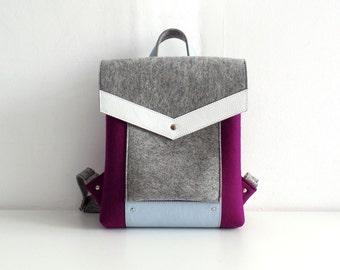 Felt Genuine Leather Backpack Purple Gray White Blue