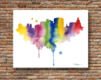 Newark Skyline - Abstract Watercolor - New Jersey Art Print - Wall Decor