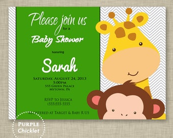 Giraffe Monkey Invite Baby Shower Invite Birthday Invitation Chevron Safari Gender Neutral Printable Party Invite JPEG file (4)