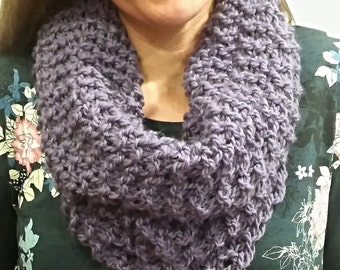 Chunky scarf, bulky cowl, purple oversized neckwarmer, single loop, fashion knitwear, womens accessory, warm winter cowl, outlander scarf