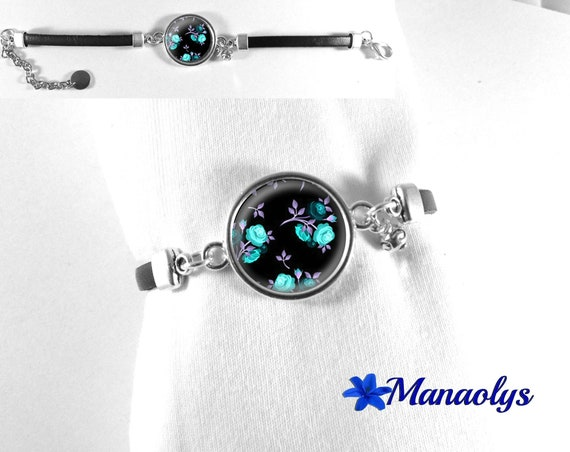 Black leather bracelet, glass cabochon pink blue, purple leaves on black background 157