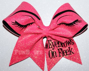 Eyebrows on Fleek Cheerleading Hairbow by FunBows ! Glitter !