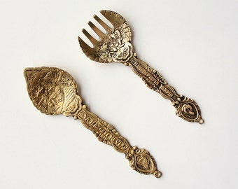 Vintage brass wall hanging Fork and spoon Rumi Sufi Turkey Konya souvenir Islamic home decoration Mevlana whirling dervish