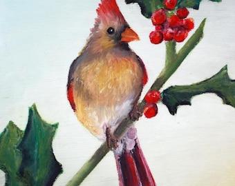 Cardinal and Holly Christmas Card