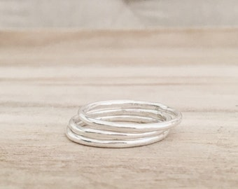 Sterling silver stacking rings [set of 3 rings], sterling silver ring, silver stackers, smooth silver bands