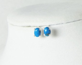 Turquoise Studs - Turquoise Earrings - Oval Studs - Blue Earrings - Howlite Turquoise