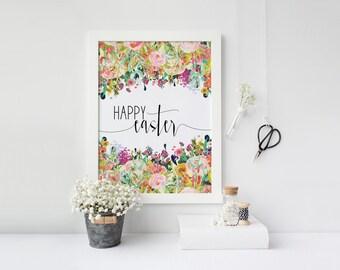 "PRINTABLE Art ""Happy Easter"" Typography Art Print Floral Art Print Floral Wall Art Easter Wall Art Easter Art Print Home Decor"