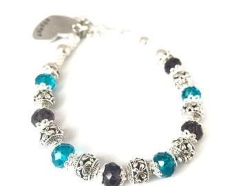 Birthstone Bracelet Mothers Grandmothers Swarovski crystal bracelet handstamped pendant