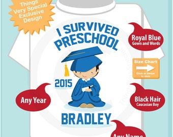 Personalized I Survived Preschool Shirt Preschool Graduate Shirt Child's Back To School Shirt (04202015d)