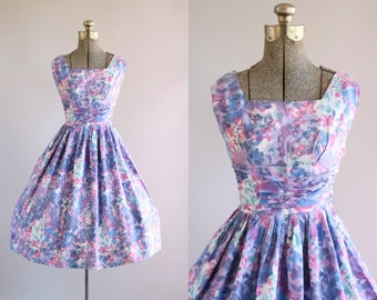Vintage 1950s Dress / 50s Cotton Dress / Mottled Floral Watercolor Print Dress w/ Shelf Bust XS