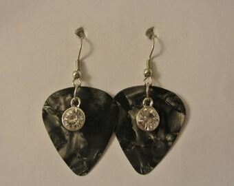 Black Gutiar Pick with Diamond Earrings with Silver Fishhook