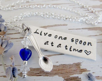 Live one spoon at a time spoonie necklace - chronic pain - illness - cancer - silver bar - hand stamped - spoon charm - your heart color