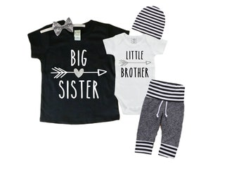 Big Sister/ Little Brother Matching Set. Baby Shower Gift. Big Brother Shirt. Little Sister Outfit. Pregnancy Announcement. Matching Set