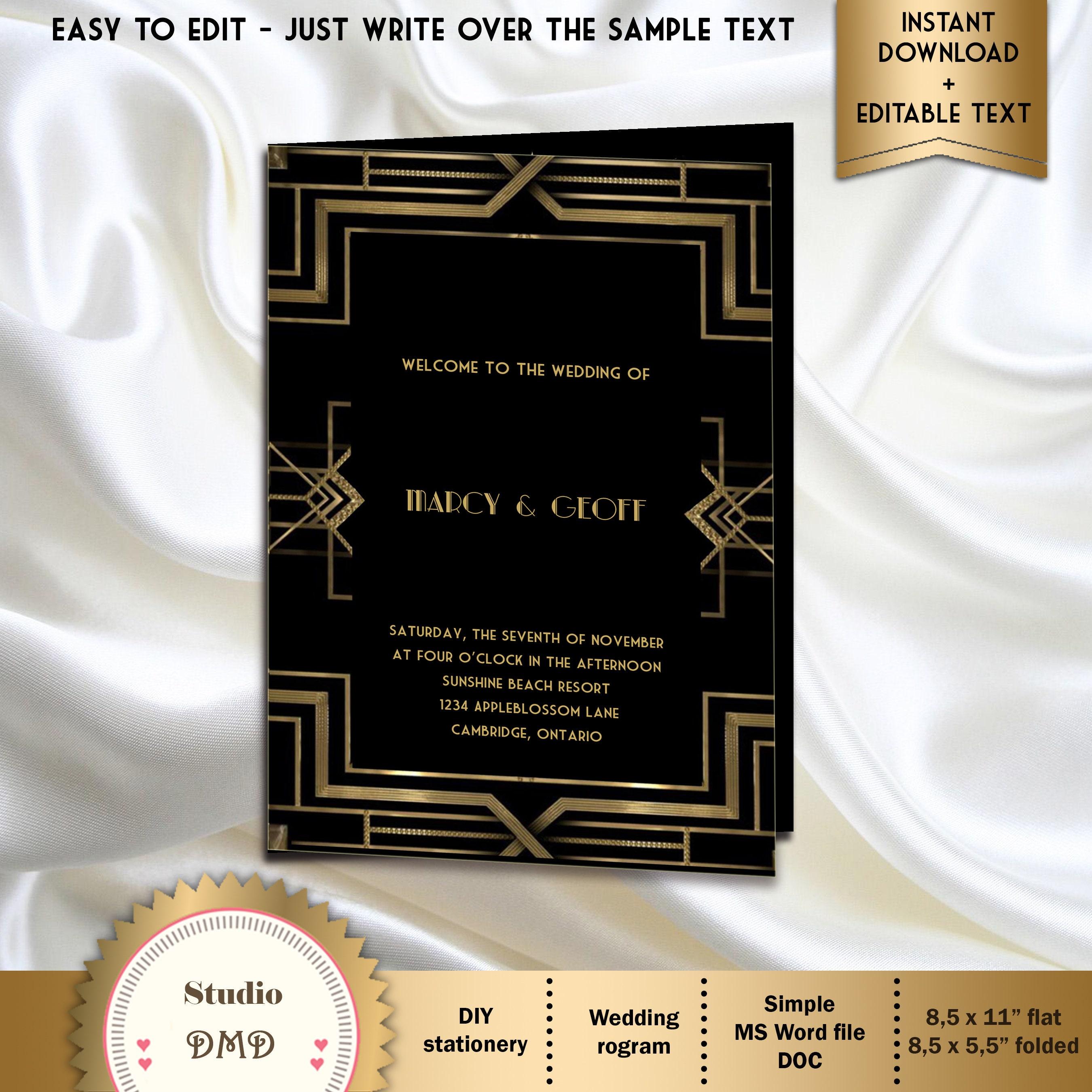 Druckbare Hochzeit Programm Vorlage Art-Deco-große Gatsby