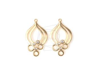 PDT-549-MG/2pcs/19mm x 30mm/Flower Charm With CZ/Textured Budding Flower Pendant