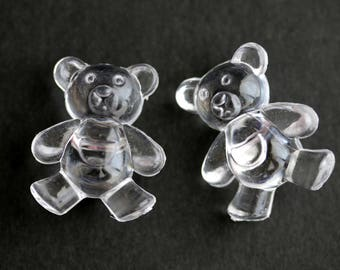Two (2) Clear Lucite Teddy Bear Buttons. Clear Buttons. Acrylic Buttons. Clear Teddybear Buttons.  25mm x 21mm