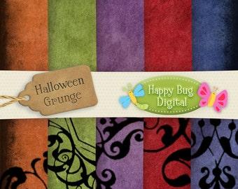 Halloween Grunge Digital Paper Pack 10 Sheets Commercial Use OK - INSTANT DOWNLOAD