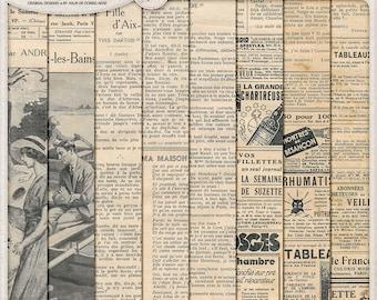 Vintage French Ephemera Pack, Grunge Digital Paper, Antique Newspaper, Commercial Use OK, Instant Download, Worn Textures, Digital Scrapbook