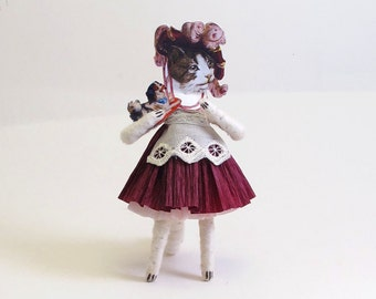 Vintage Inspired Spun Cotton Victorian Kitty Figure/Ornament (MADE TO ORDER)