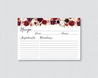 Marsala Floral Bridal Shower Recipe Cards - Printable Flower Bridal Shower Recipe Card and Invitation Insert, Rustic Recipe Cards 0033