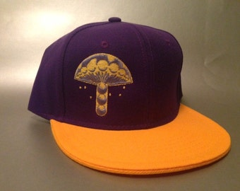 Crop Mushroom Snapback Hat made to order two tone flat bill crop circle design FREE SHIPPING
