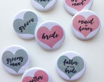Bridal Party Pins - wedding buttons - pink & grey hearts - pack of 10 - 1.25 inch