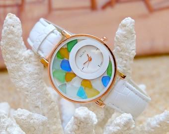 Watch gift, Women wrist watch,Sea glass jewelry, Women bracelet watch,Bohemian watch, Women gift ideas, Best gift for girl,Beach lover gift