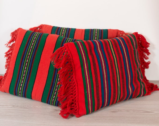 Vintage Red Stripe Pillows - Scandinavian Wool Pillows with Fringe - Red and Green Decorative Throw Pillow - Mid Century Modern Decor