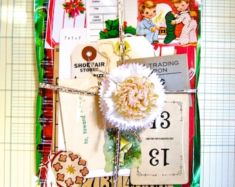 Christmas Scrapbook Kit,  Vintage Ephemera,  Smash Book, Junk Journal, Remains of the Day, Scrap Paper, Art Embellishment Kit